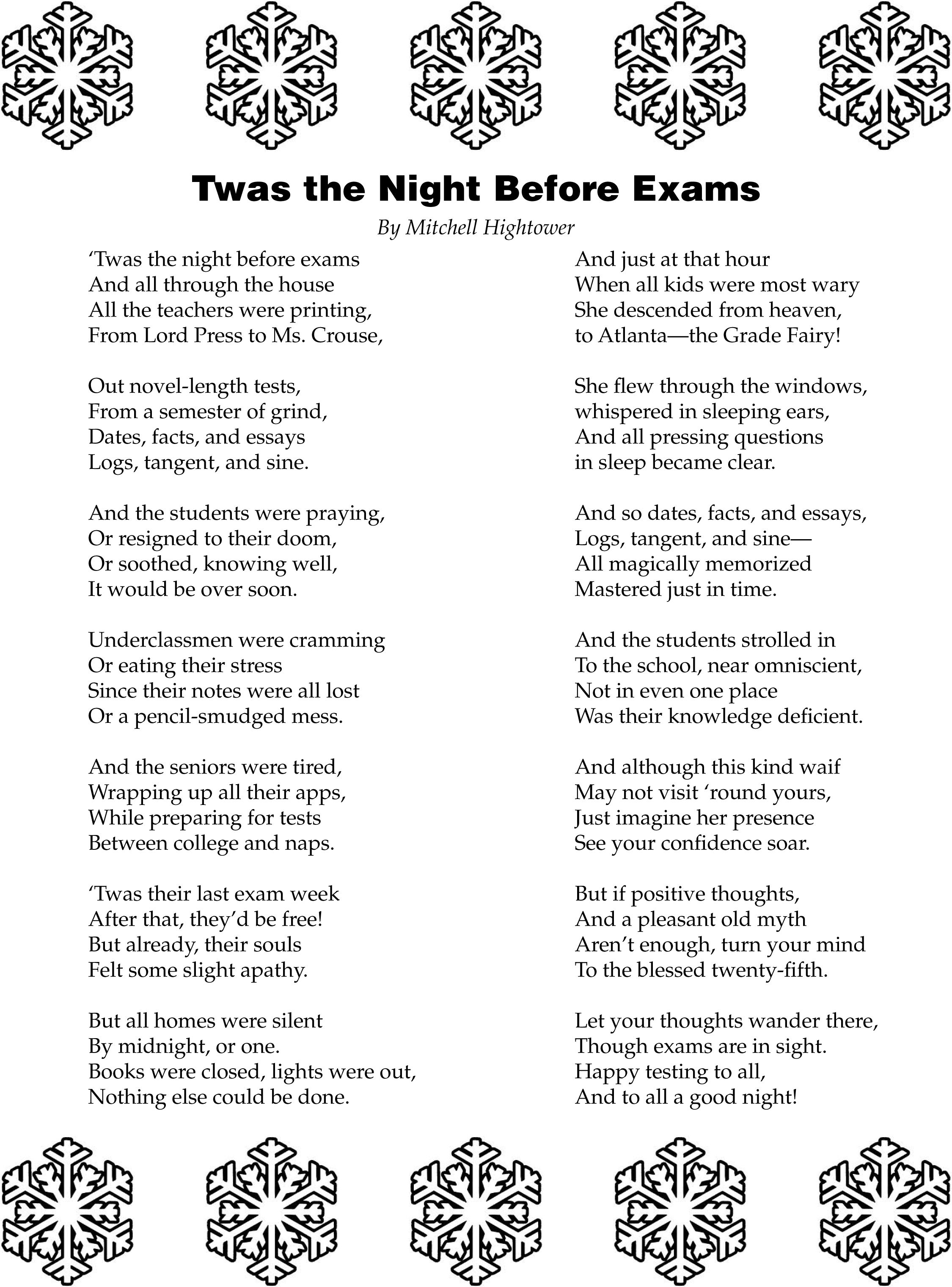 Twas The Night Before Exams A Poem By Senior Mitchell