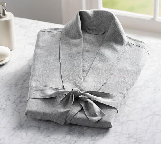 Belgian Flax Linen Robe Normal Wear Tear Robe Style