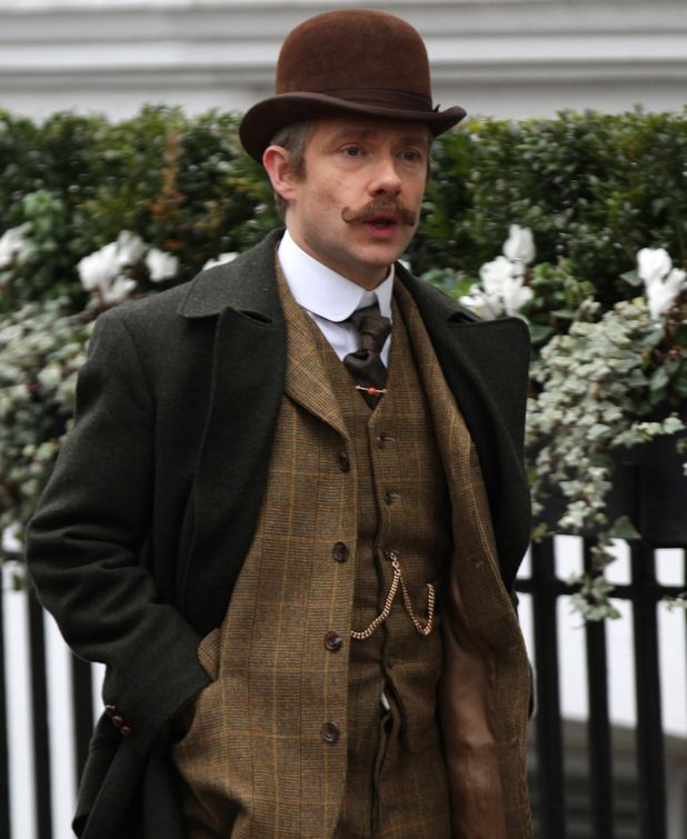 Sherlock: Return of the Johnstache - That should be the title for the new Sherlock special. So here's another new pic from Martin Freeman filming the new Sherlock Special!