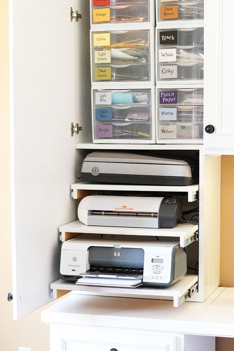 Craft Room / Office ideas for a small bedroom or dining room--love the hidden slide out shelves for printer, and paper cutter. love the hidden cords