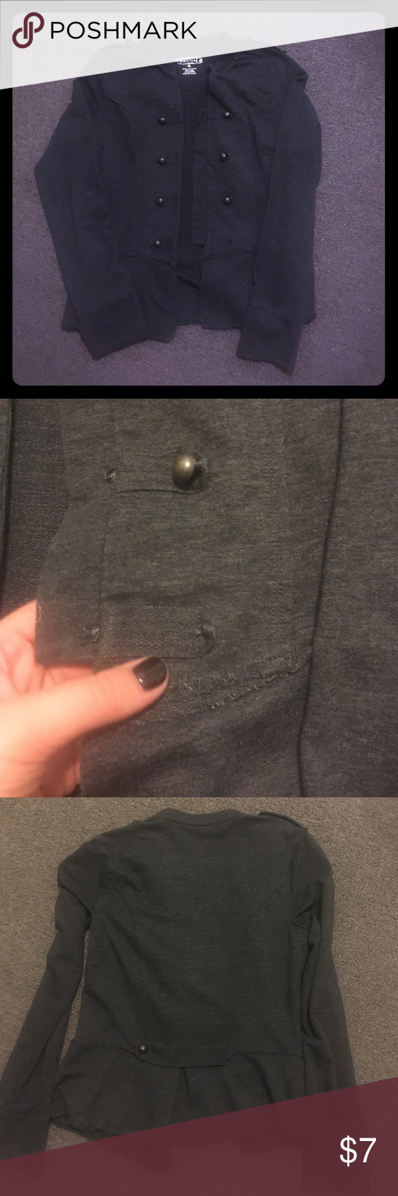 Light jacket Lightweight jacket that can dressed be up or worn casual. It's missing 2 buttons one on the front and one on the back (shown in the pictures) No rips, tears or holes. Comes from a pet-free and smoke-free house. Maurices Jackets & Coats