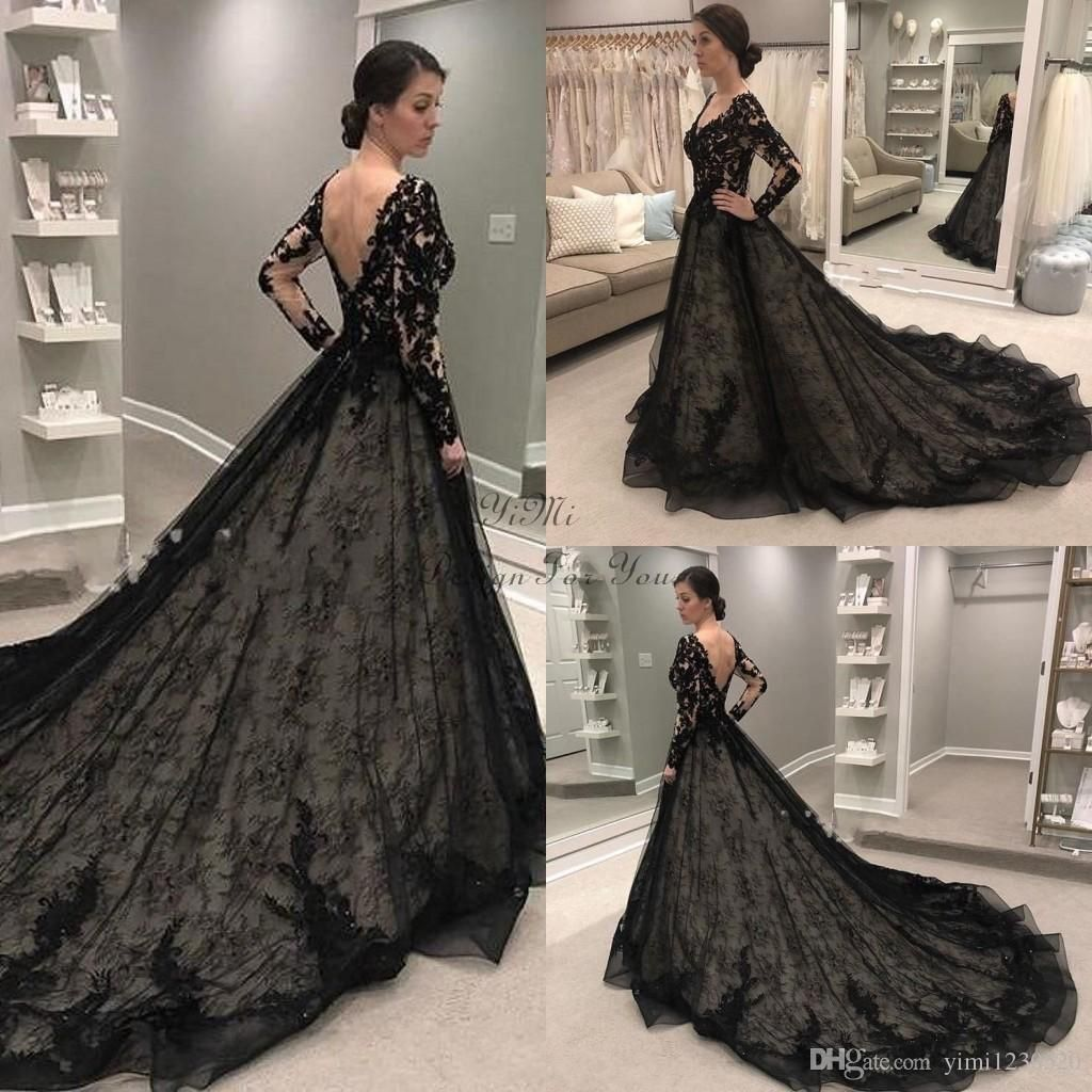 Discount Real Image Black Gothic Wedding Dresses 2019 Long Sleeve V Neck Backless Sweep Train Lace Illusion Bodice Garden Country Chapel Bridal Gowns Wedding Dr Black Lace Wedding Dress Black Wedding