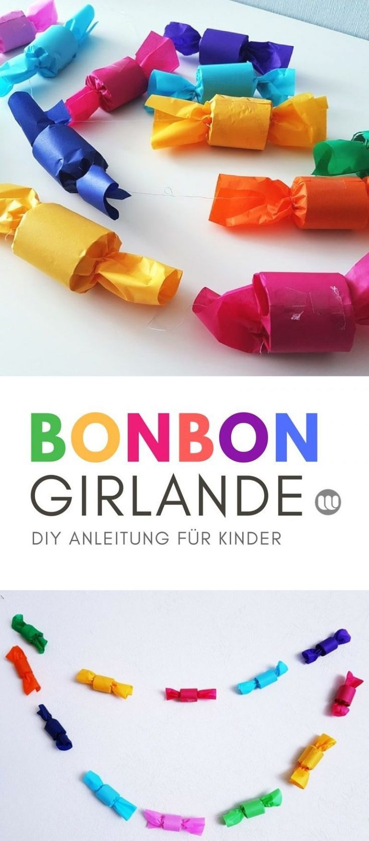 DIY Bonbon-Girlande: Basteln mit Klopapierrollen Upcycling