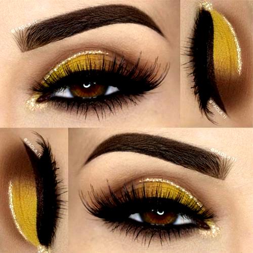 Stunning Makeup Ideas For Light Brown Eyes Picture 2 Yellow Eye Makeup Eyeshadow Makeup Natural Eye Makeup