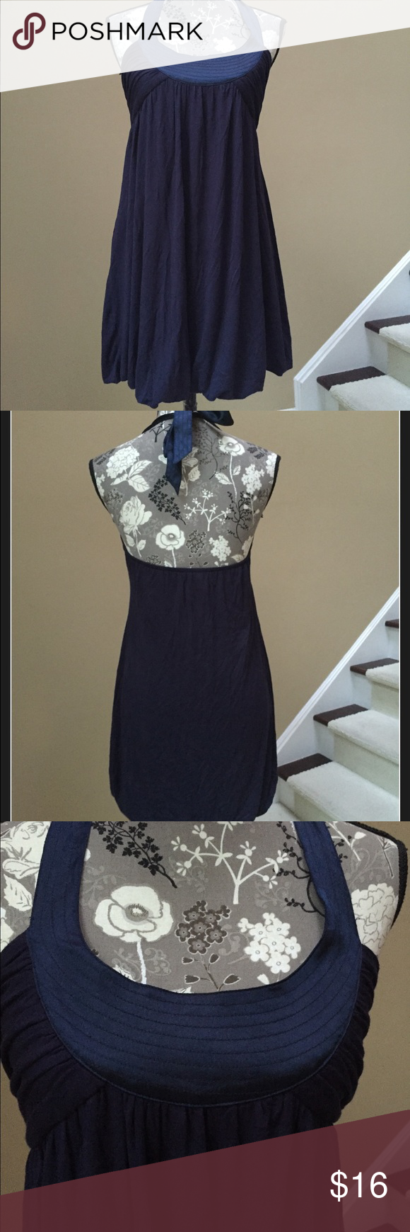 Rose bud brand navy halter dress rose buds rose and navy