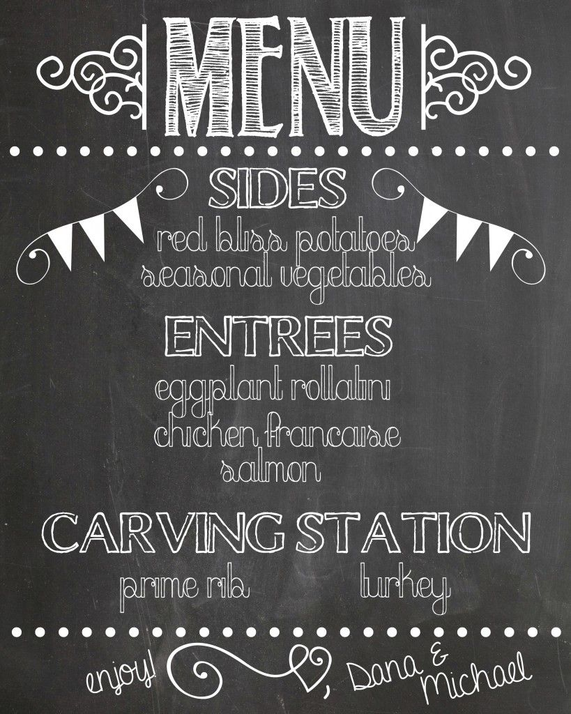 create a chalkboard menu to let guests know what will be served at