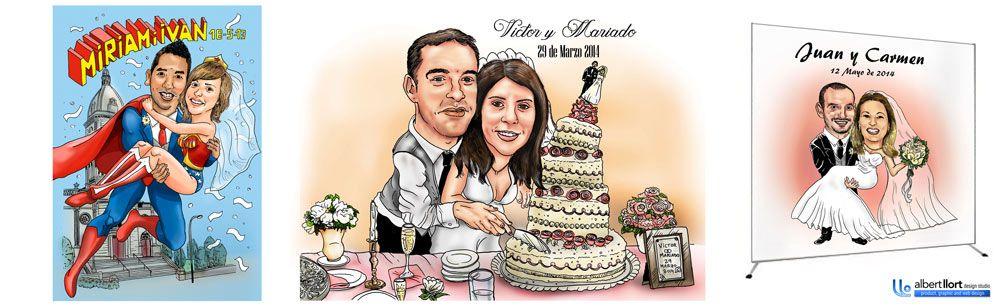 2- PHOTOCALL ESTILO CARICATURA - ACABADO COLOR  La ilustración incluiría a la pareja, a cuerpo entero, con un título, y fondo personalizado a elegir o definir.  CONTACTA PARA MÁS INFORMACIÓN:  www.albertllort.com albert@albertllort.com