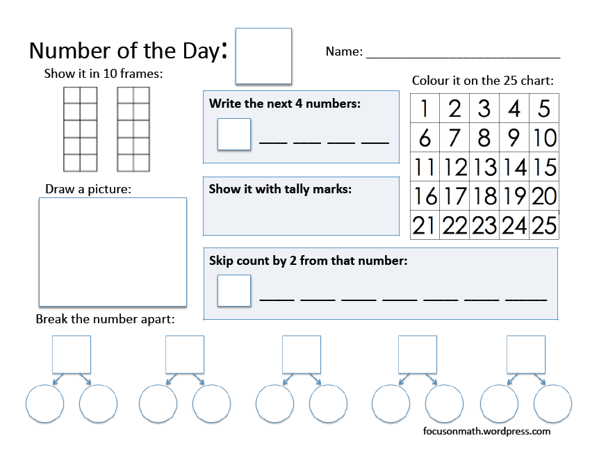 Number of the Day – Level I   focus on math   Pinterest ...
