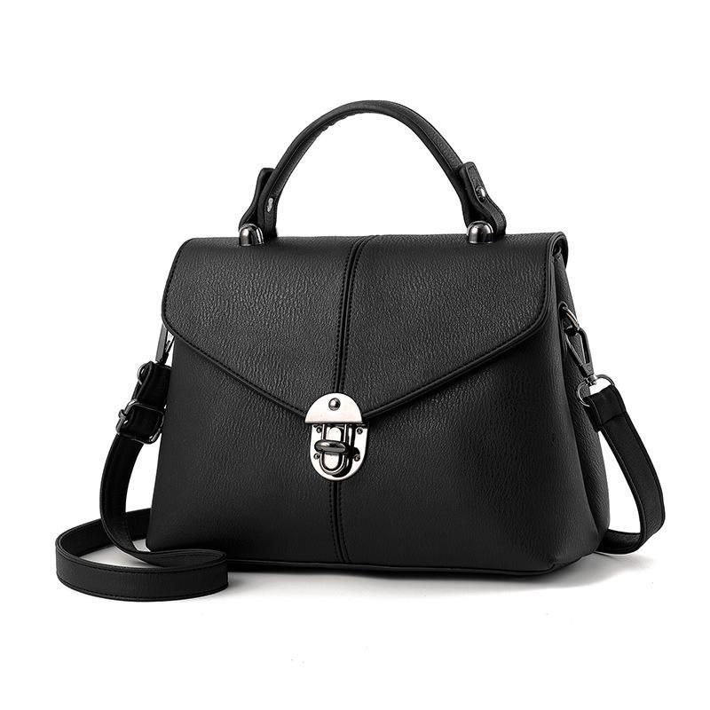 The Leather Top-Handle Bag with Flap Closure. Your Top Marketplace For  Quality Products. Solid Flap Casual Black Tote 958e6085247bb