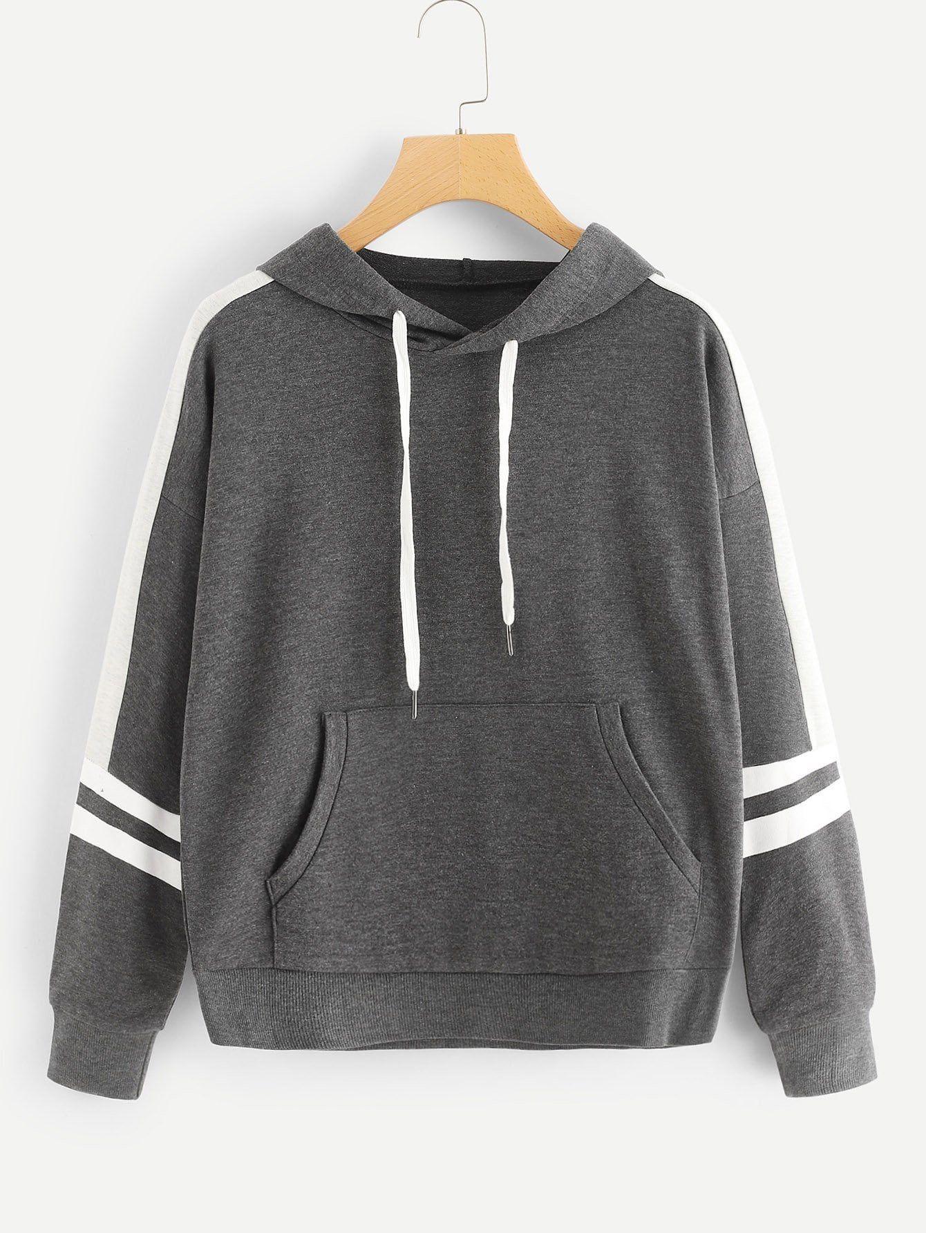 كنزة من النوع الثقيل مع جيب مع خطوط جانبية قد اشتريت منتج رائع من موقع شي إن أرغب في أن أوصيكم بشرائه تجنن وع Sweatshirts Drawstring Hoodie Sweatshirts Hoodie