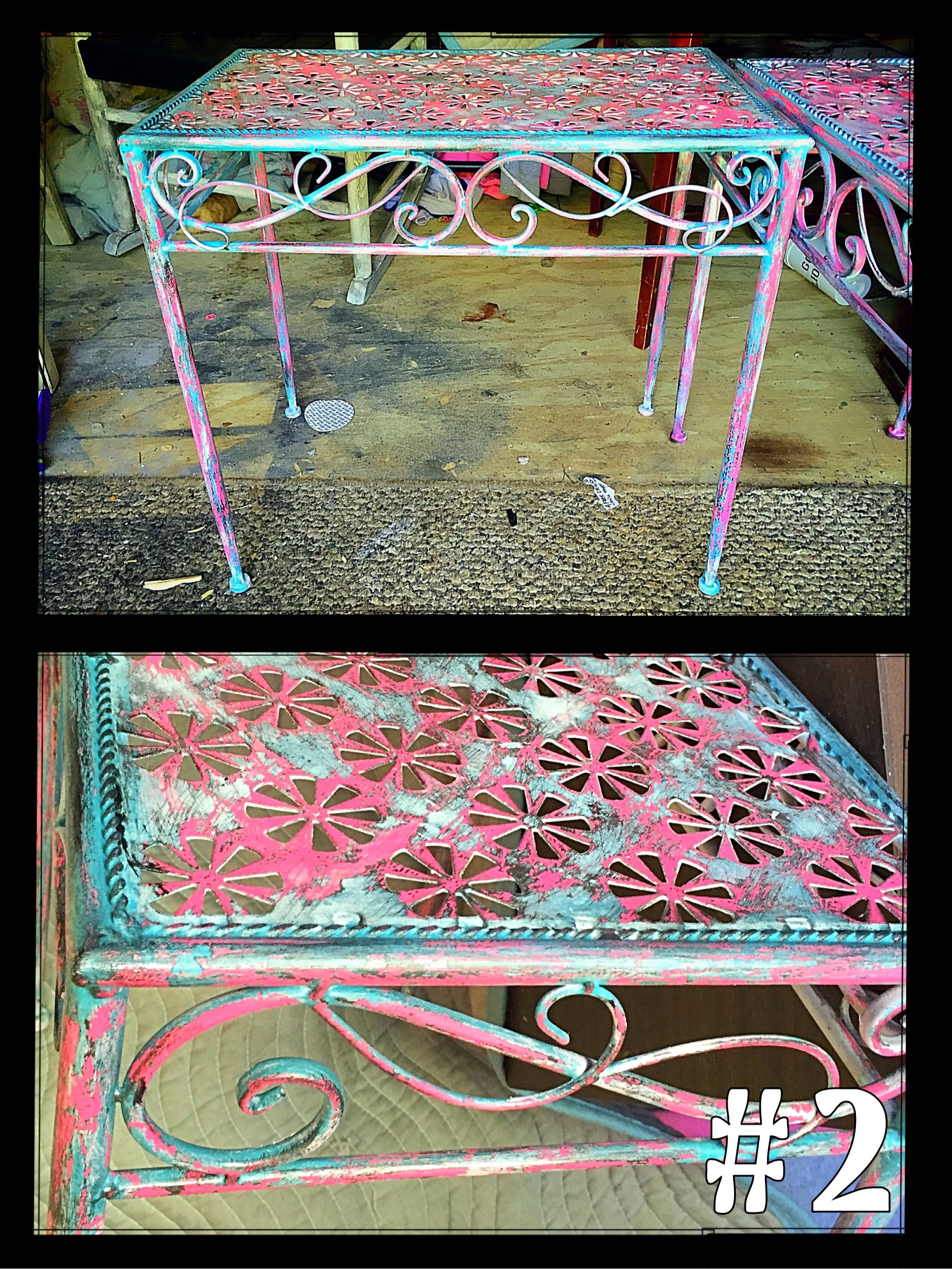 Rustic distressed metal accent table