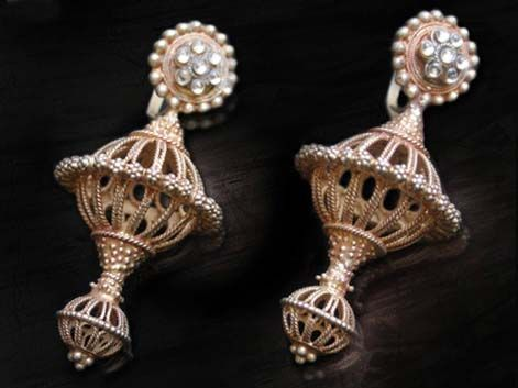 India | Vintage Gujarati Silver/Gold plated Allulakh Earrings.