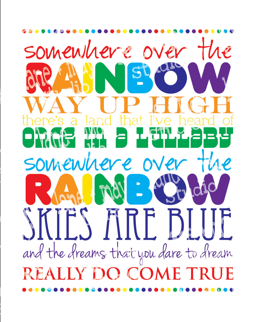Somewhere Over The Rainbow 8 X 10 Digital Print Instant Download