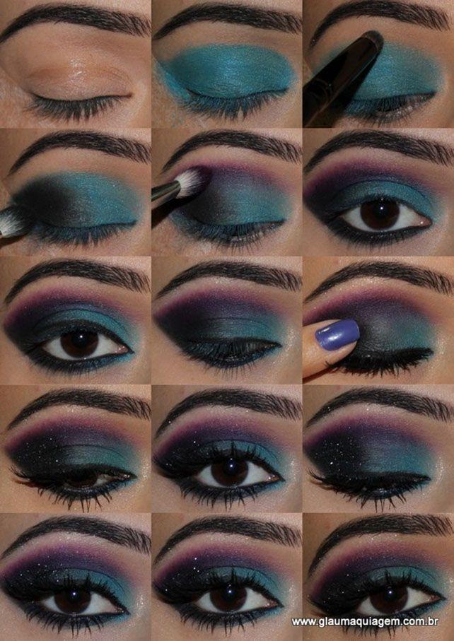 Green Space Eye Shadow Makeup Tutorial Eyeshadow Beauty Makeup Eye Makeup Tutorial Bright Eye Makeup Makeup