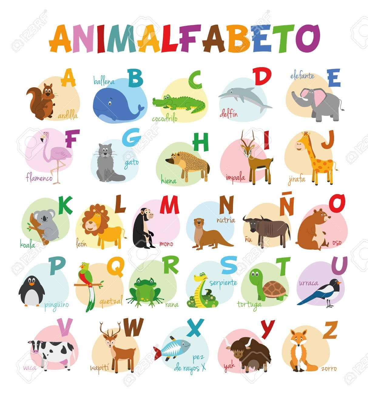 Cute Cartoon Illustrated Alphabet With Funny Zoo Animals Spanish Alphabet Learn To Read I El Abecedario En Espanol Alfabeto Para Ninos Abecedario Para Ninos