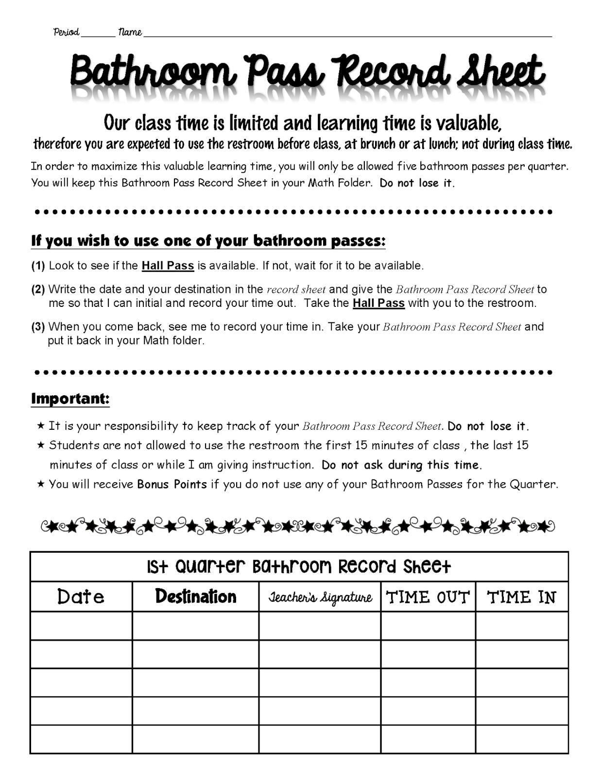 Rockstar Math Teacher Classroom Posters And Bathroom Pass
