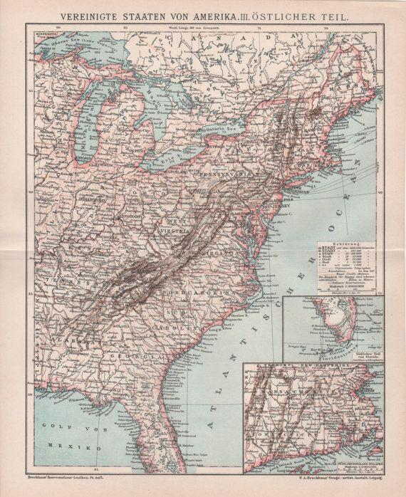 1898 United States Map Florida Georgia Virginia New York ...