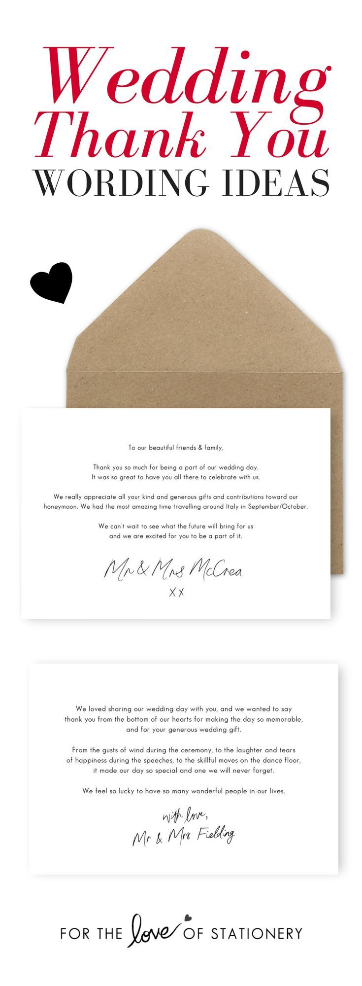 10 Wording Examples For Your Wedding Thank You Cards Wedding