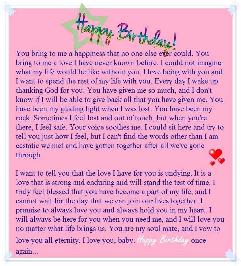 a sweet happy birthday letter to my boyfriend Birthday