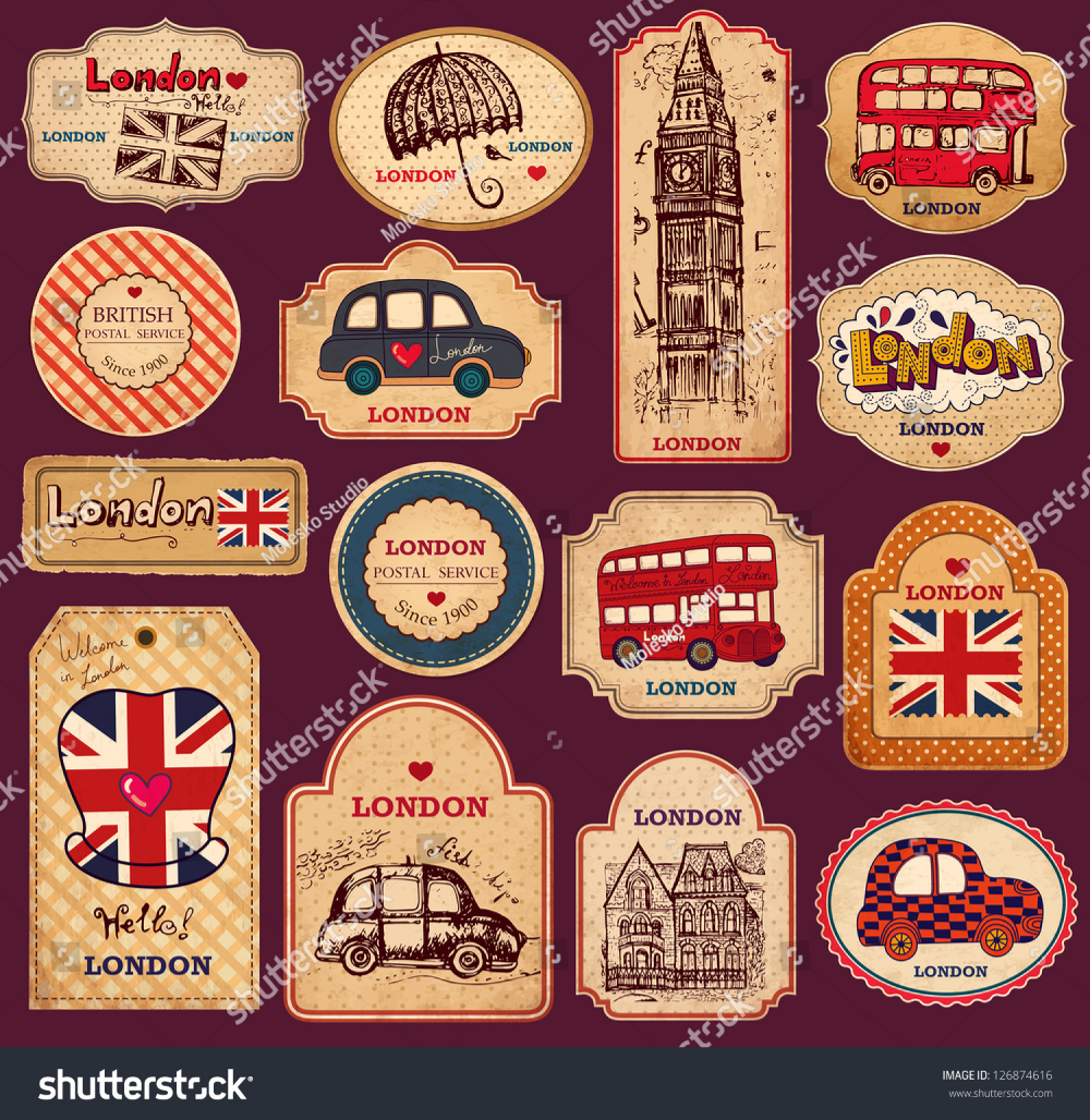 Vector Set Vintage Labels London Symbols Stock Image