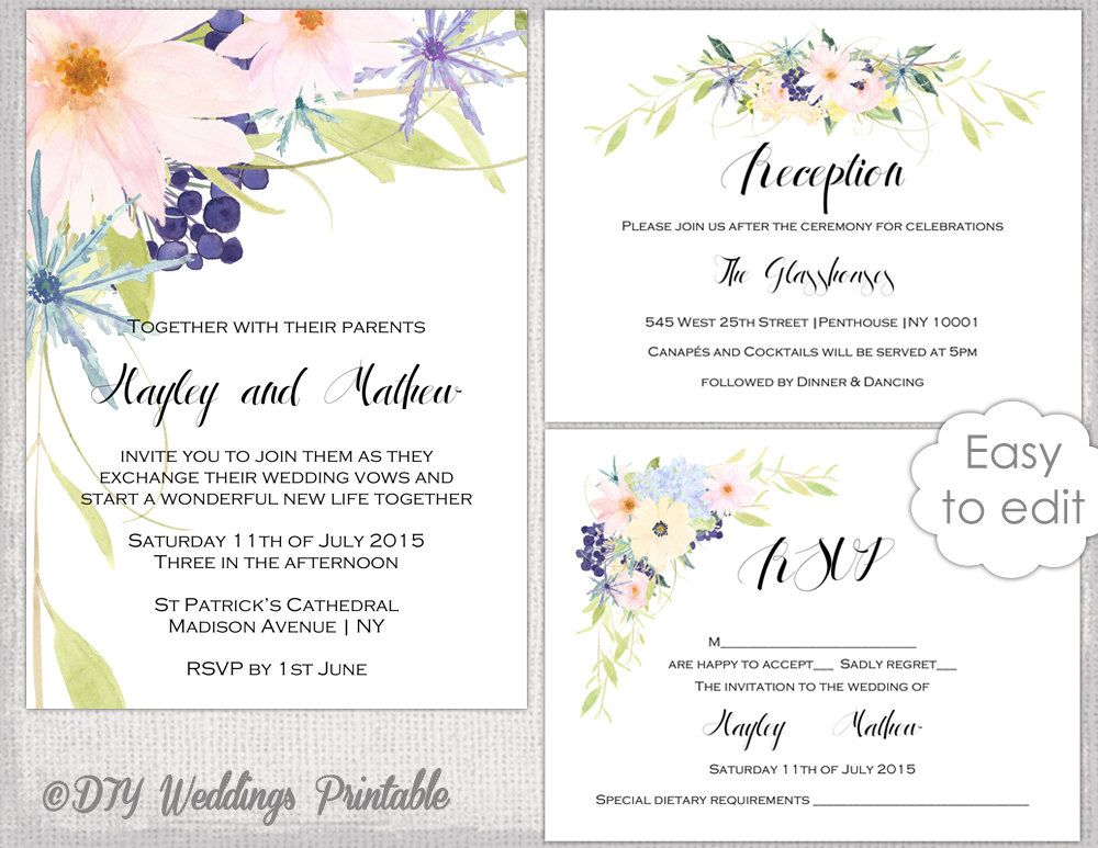 Wedding invitation set template Watercolor  - dinner invitations templates