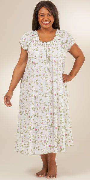 Plus Size Cotton Cap Sleeve House Dress Gown By La Cera Blooming Vines Dresses Gowns Dresses Pajama Fashion