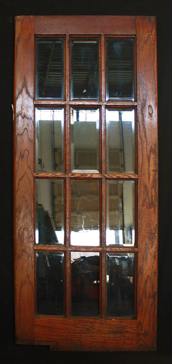 32 X 78 Antique Interior Exterior Oak French Swinging Door Beveled Glass Lites Project Glass