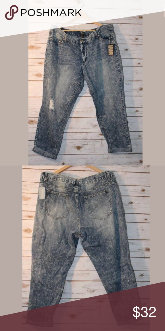f9a7b8c1f4f NEW Forever 21 Cropped Acid Wash Destroyed Ripped FOREVER 21 Plus Size 18W  Destroyed Acid Wash Straight Leg Jeans Cropped Cuff NEW Forever 21 Pants  Ankle   ...