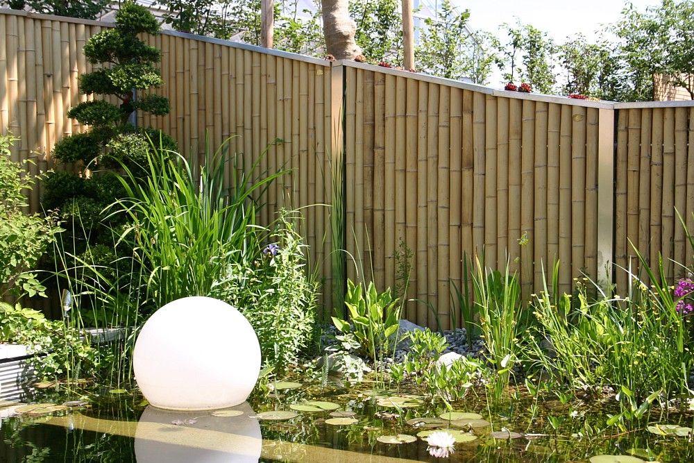 sichtschutz 005 sichtschutzelemente aus bambus und edelstahl bambusrohre. Black Bedroom Furniture Sets. Home Design Ideas