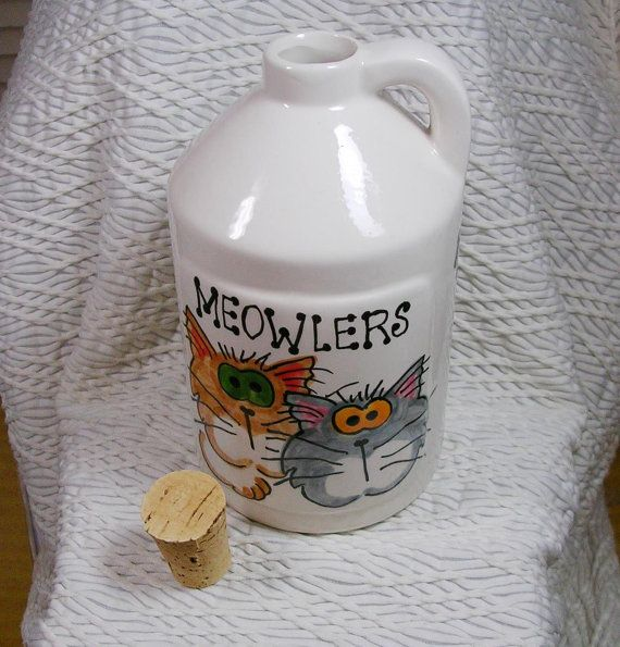 Meowler gatos Goofy jarra con tapa cerámica por GoodNiteGracie