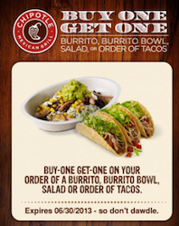 25aac45aa Chipotle Mexican Grill: BOGO Burrito, Bowl, Salad Or Tacos Coupon (Text  Offer)