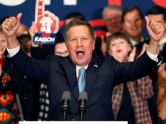 John Kasich savors his second-place finish, in the 2016 NH GOP primary. He says that he's the best bet against the Democrats, in the general, presidential election.