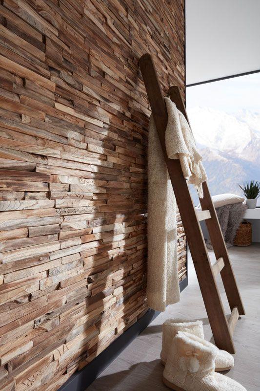 Wandverkleidung aus echtem Treibholz oder Teak #wall paneling