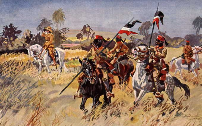 An Illustration Of Askari Cavalry Under The Command Of A German