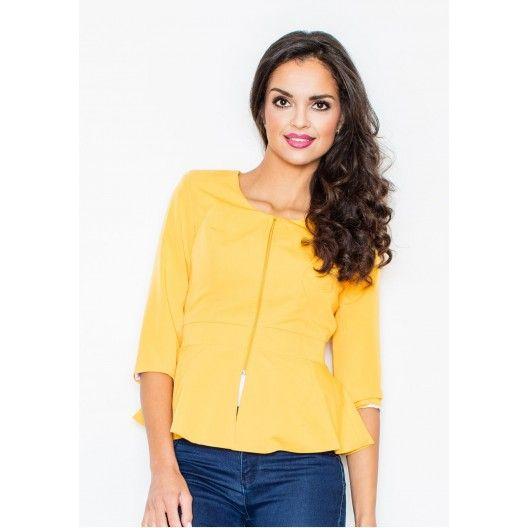 Žlté dámske sako na zips - fashionday.eu