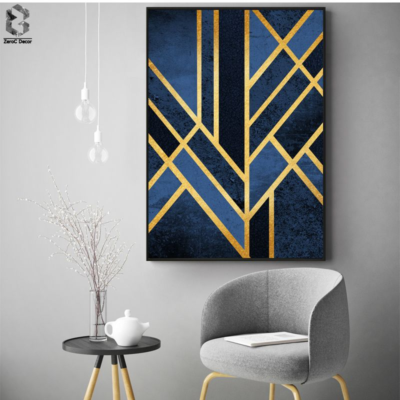 Classique Linéaire Géométrique Toile Peinture Mur Art Affiches et ...