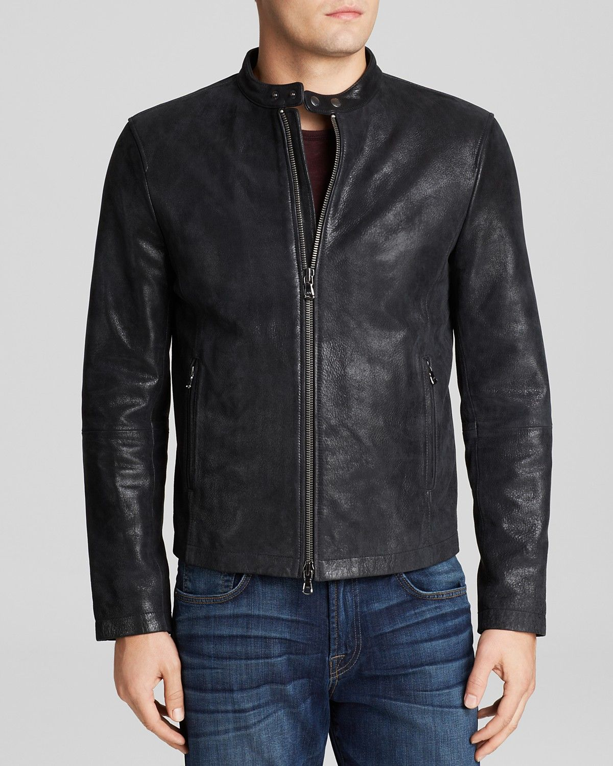 John varvatos leather driving gloves - John Varvatos Usa Classic Leather Racer Jacket Bloomingdale S