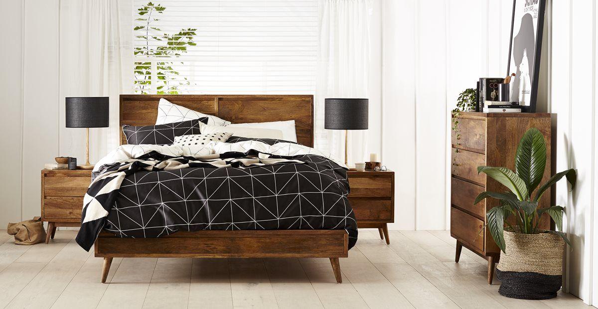 Austin Bed Frame Light Oak Bedroom Furniture Forty Winks Retro Bedroom Furniture Retro Bedrooms Oak Bedroom Furniture
