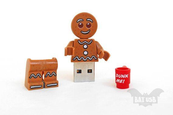 Gingerbread Man usb flash drive 8/16/32/64GB - Memory Stick - Lego ...