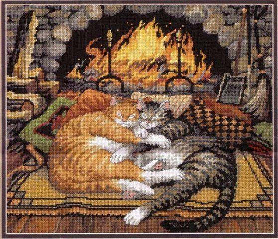 Вышивка с котами от dimensions