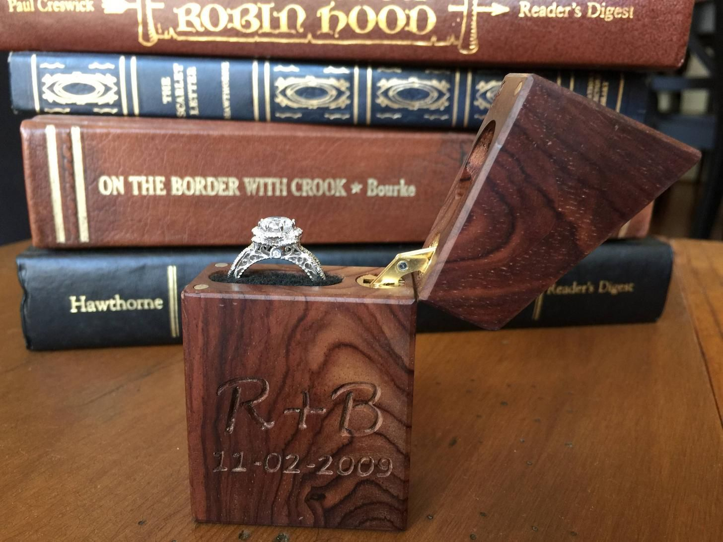 I made this cocobolo ring box for my friend and his now fiance i