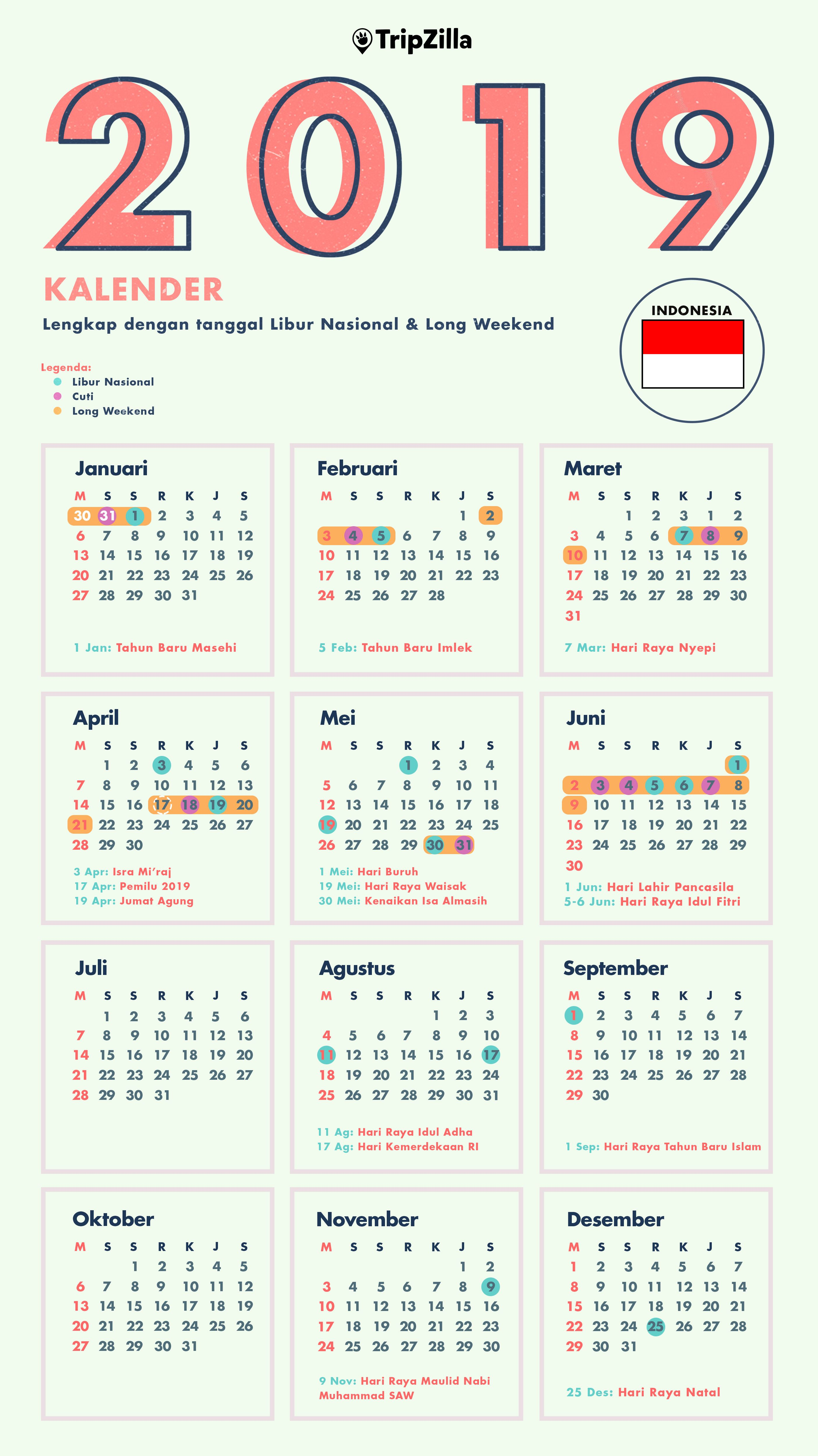 kalender libur nasional 2019 indonesia di 2019 | Wallpaper ...