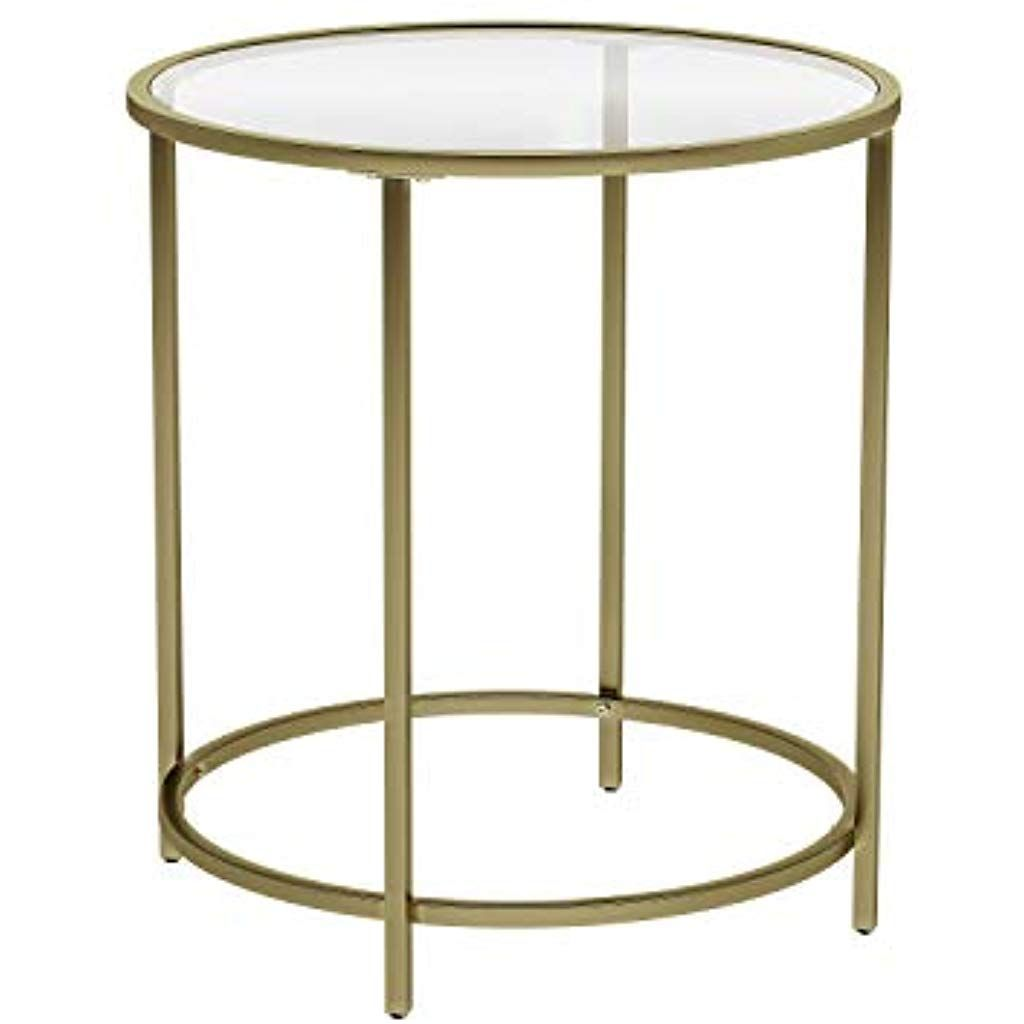 Vasagle Round Side Table Tempered Glass End Table With Golden