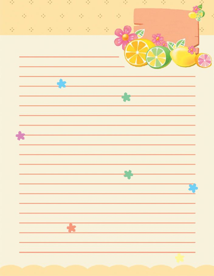 Free School Writing Paper Template With Green Hearts And Love