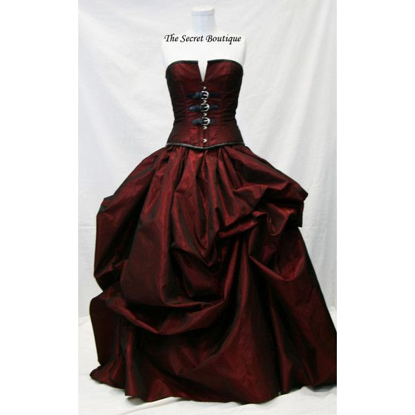 Hot Sale Sweetheart Corset Gothic Purple Wedding Dress: Red Wedding Gown-Steampunk Wedding Gown-gothic Wedding