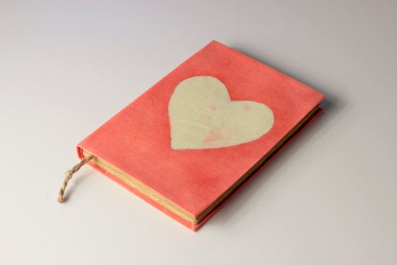 Heart Journal Diary Notebook old dyed paper batik fabric by Patiak