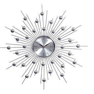 Silver Retro Modern Starburst Home Office Decor Wall Clock Retro Wall Clock Modern Clock Wall Clock Modern