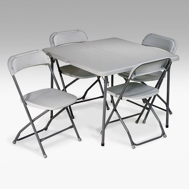 Square Resin Folding Card Table And Chair Set 5 Piece Grey Pct 05