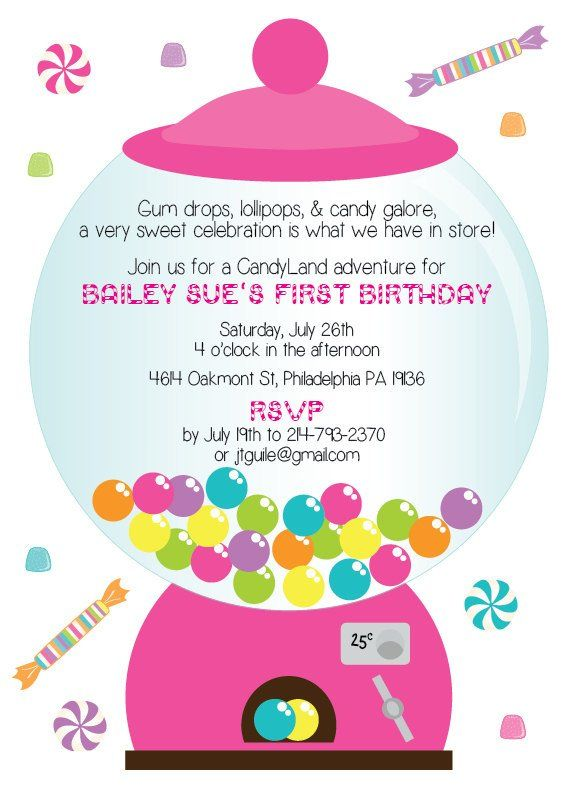 CandyLand First Birthday Party Invitation Digital Download