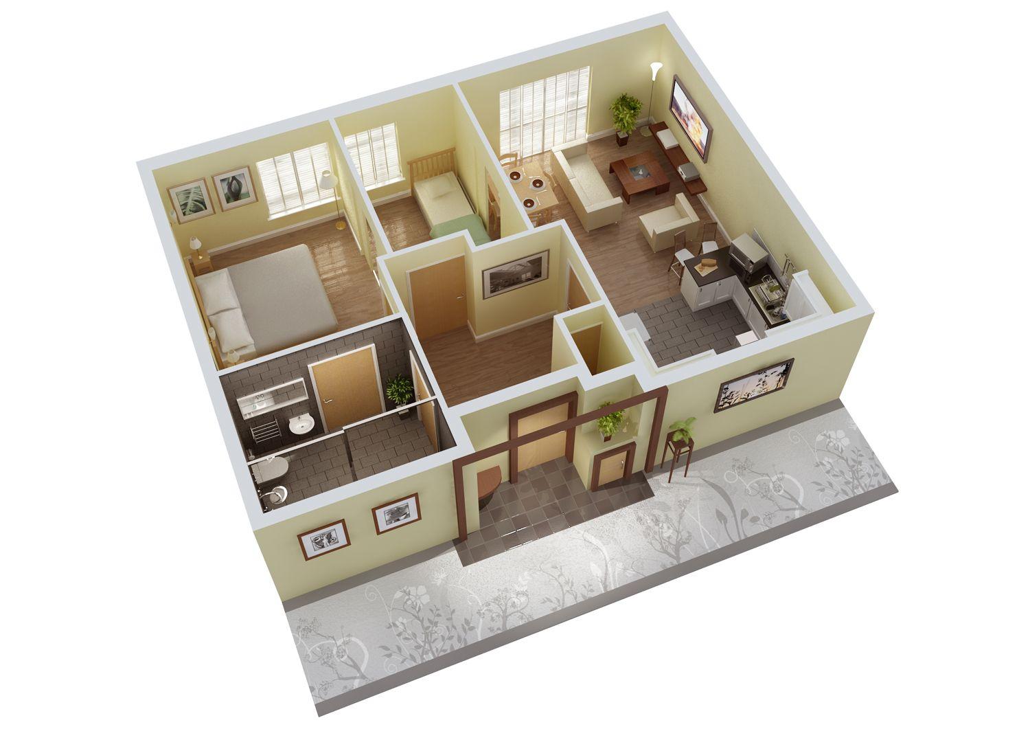 3d Small House Design with Floor Plans design plans Pinterest